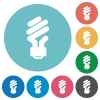 Energy saving fluorescent light bulb flat round icons - Energy saving fluorescent light bulb flat white icons on round color backgrounds