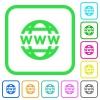 WWW globe vivid colored flat icons - WWW globe vivid colored flat icons in curved borders on white background