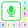 Single microphone vivid colored flat icons - Single microphone vivid colored flat icons in curved borders on white background