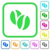 Coffe beans vivid colored flat icons - Coffe beans vivid colored flat icons in curved borders on white background