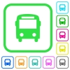 Bus vivid colored flat icons - Bus vivid colored flat icons in curved borders on white background