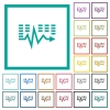 Music waves flat color icons with quadrant frames - Music waves flat color icons with quadrant frames on white background