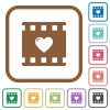 Favorite movie simple icons - Favorite movie simple icons in color rounded square frames on white background