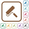 Paint roller simple icons - Paint roller simple icons in color rounded square frames on white background