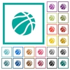 Basketball flat color icons with quadrant frames - Basketball flat color icons with quadrant frames on white background