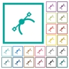 Vector symbol flat color icons with quadrant frames - Vector symbol flat color icons with quadrant frames on white background