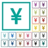 Japanese Yen sign flat color icons with quadrant frames - Japanese Yen sign flat color icons with quadrant frames on white background