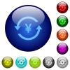 Yen pay back color glass buttons - Yen pay back icons on round color glass buttons