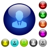 Businessman avatar icons on round color glass buttons - Businessman avatar color glass buttons