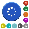 Preloader symbol round color beveled buttons with smooth surfaces and flat white icons - Preloader symbol beveled buttons