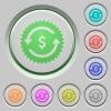Dollar pay back guarantee sticker push buttons - Dollar pay back guarantee sticker color icons on sunk push buttons