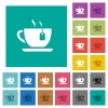 Cup of tea with teabag square flat multi colored icons - Cup of tea with teabag multi colored flat icons on plain square backgrounds. Included white and darker icon variations for hover or active effects.