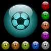 Soccer ball icons in color illuminated glass buttons - Soccer ball icons in color illuminated spherical glass buttons on black background. Can be used to black or dark templates