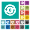 Bitcoin pay back guarantee sticker square flat multi colored icons - Bitcoin pay back guarantee sticker multi colored flat icons on plain square backgrounds. Included white and darker icon variations for hover or active effects.