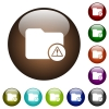 Directory warning color glass buttons - Directory warning white icons on round color glass buttons