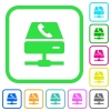 VoIP services vivid colored flat icons - VoIP services vivid colored flat icons in curved borders on white background