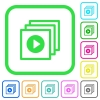 Play files vivid colored flat icons - Play files vivid colored flat icons in curved borders on white background