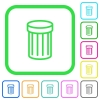 Recycle bin vivid colored flat icons - Recycle bin vivid colored flat icons in curved borders on white background