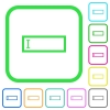 Editbox with editing cursor vivid colored flat icons - Editbox with editing cursor vivid colored flat icons in curved borders on white background