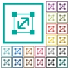 Resize element flat color icons with quadrant frames - Resize element flat color icons with quadrant frames on white background