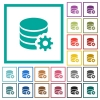 Database configuration flat color icons with quadrant frames - Database configuration flat color icons with quadrant frames on white background