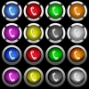 Telephone call white icons in round glossy buttons on black background - Telephone call white icons in round glossy buttons with steel frames on black background. The buttons are in two different styles and eight colors.
