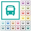 Bus flat color icons with quadrant frames - Bus flat color icons with quadrant frames on white background