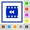 Movie fast backward flat framed icons - Movie fast backward flat color icons in square frames on white background