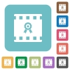Movie award rounded square flat icons - Movie award white flat icons on color rounded square backgrounds