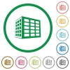 Office block flat icons with outlines - Office block flat color icons in round outlines on white background