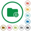 Unlock directory flat icons with outlines - Unlock directory flat color icons in round outlines on white background