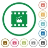 Movie production flat icons with outlines - Movie production flat color icons in round outlines on white background