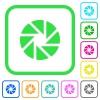 Aperture vivid colored flat icons - Aperture vivid colored flat icons in curved borders on white background