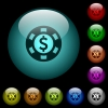 Dollar casino chip icons in color illuminated glass buttons - Dollar casino chip icons in color illuminated spherical glass buttons on black background. Can be used to black or dark templates