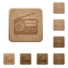 Vintage retro radio wooden buttons - Vintage retro radio on rounded square carved wooden button styles