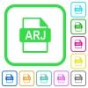 ARJ file format vivid colored flat icons - ARJ file format vivid colored flat icons in curved borders on white background
