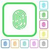 Fingerprint vivid colored flat icons - Fingerprint vivid colored flat icons in curved borders on white background