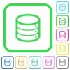 Signle database vivid colored flat icons - Signle database vivid colored flat icons in curved borders on white background