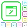 Application wizard vivid colored flat icons - Application wizard vivid colored flat icons in curved borders on white background