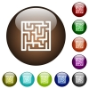 Labyrinth color glass buttons - Labyrinth white icons on round color glass buttons