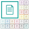 Single Document flat color icons with quadrant frames - Single Document flat color icons with quadrant frames on white background