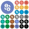 Dollar Yen money exchange round flat multi colored icons - Dollar Yen money exchange multi colored flat icons on round backgrounds. Included white, light and dark icon variations for hover and active status effects, and bonus shades on black backgounds.