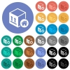 Package warehouse round flat multi colored icons - Package warehouse multi colored flat icons on round backgrounds. Included white, light and dark icon variations for hover and active status effects, and bonus shades on black backgounds.