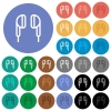 Earphone round flat multi colored icons - Earphone multi colored flat icons on round backgrounds. Included white, light and dark icon variations for hover and active status effects, and bonus shades on black backgounds.