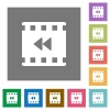 Movie fast backward square flat icons - Movie fast backward flat icons on simple color square backgrounds
