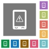 Mobile data traffic square flat icons - Mobile data traffic flat icons on simple color square backgrounds