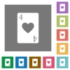 Four of hearts card square flat icons - Four of hearts card flat icons on simple color square backgrounds