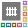 Fence square flat icons - Fence flat icons on simple color square backgrounds