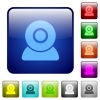 Webcam icons color square buttons - Webcam icons icons in rounded square color glossy button set