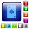 Six of spades card color square buttons - Six of spades card icons in rounded square color glossy button set